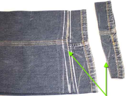 Срежем                        лишнее по намеченной линии припуска. Срезайте по одному слою аккуратно. У                        джинсов очень плотные швы, не сломайте ножницы.
